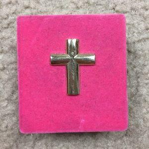 """Golden coated chain cross 18"""""""